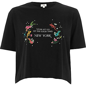 Black 'never let go' cropped T-shirt
