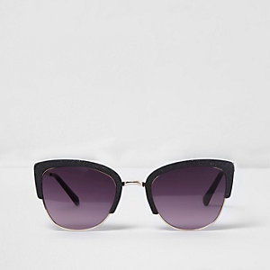 Black glitter cat eye oxblood lens sunglasses