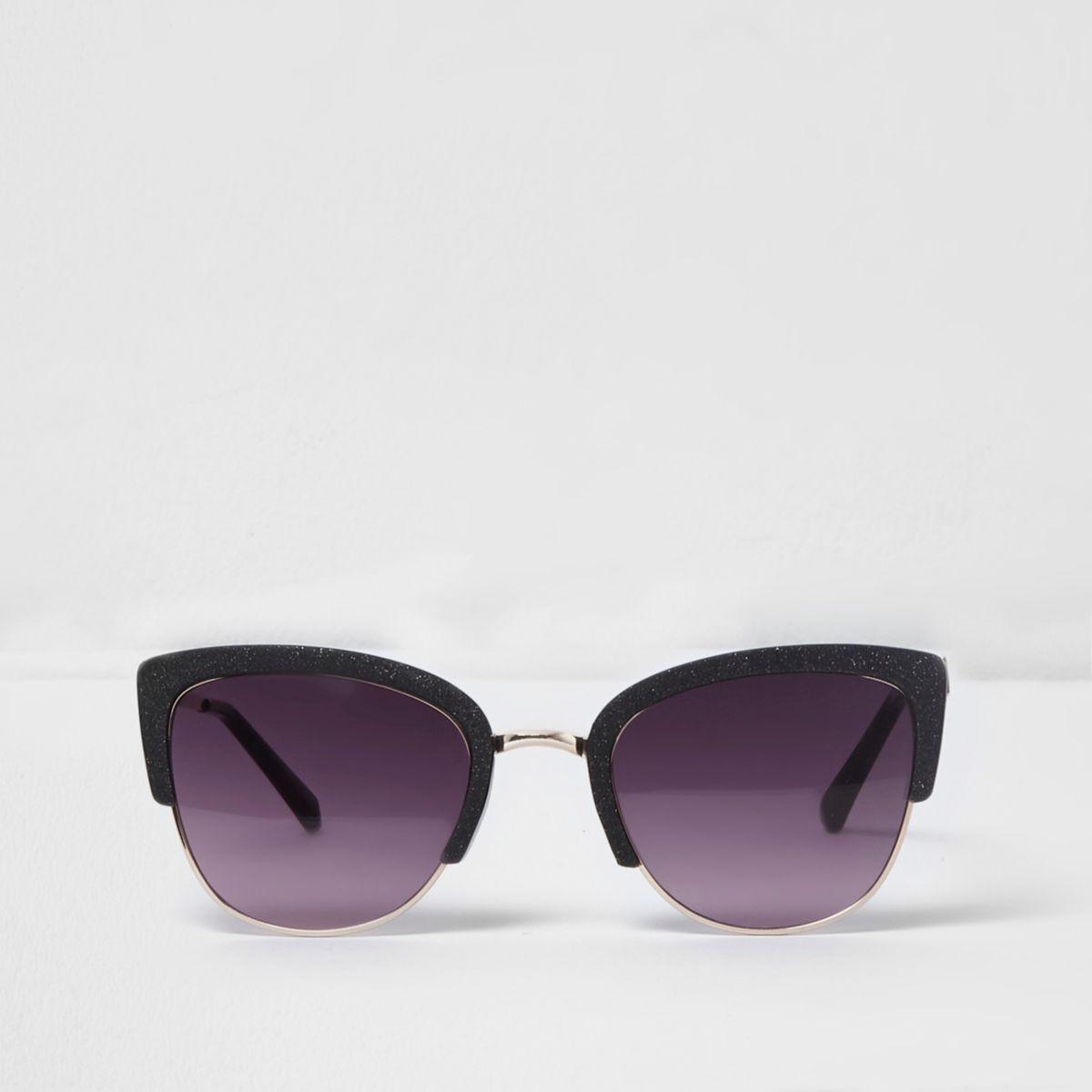 Black glitter cat eye oxblood lens sunglasses