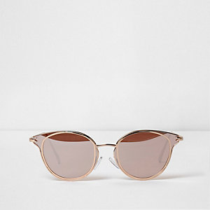 Rose gold tone retro sunglasses