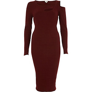 Burgundy rib cut out asymmetric bodycon dress