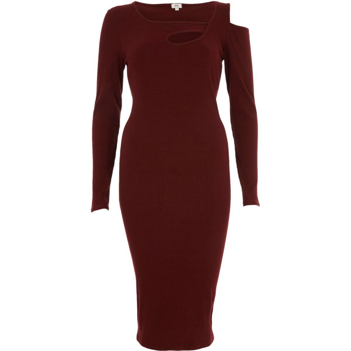 Asymmetrisches Bodycon-Kleid in Bordeaux