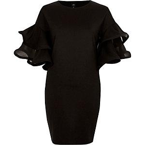 Zwarte bodycon mini-jurk met gelaagde mouwen en ruches