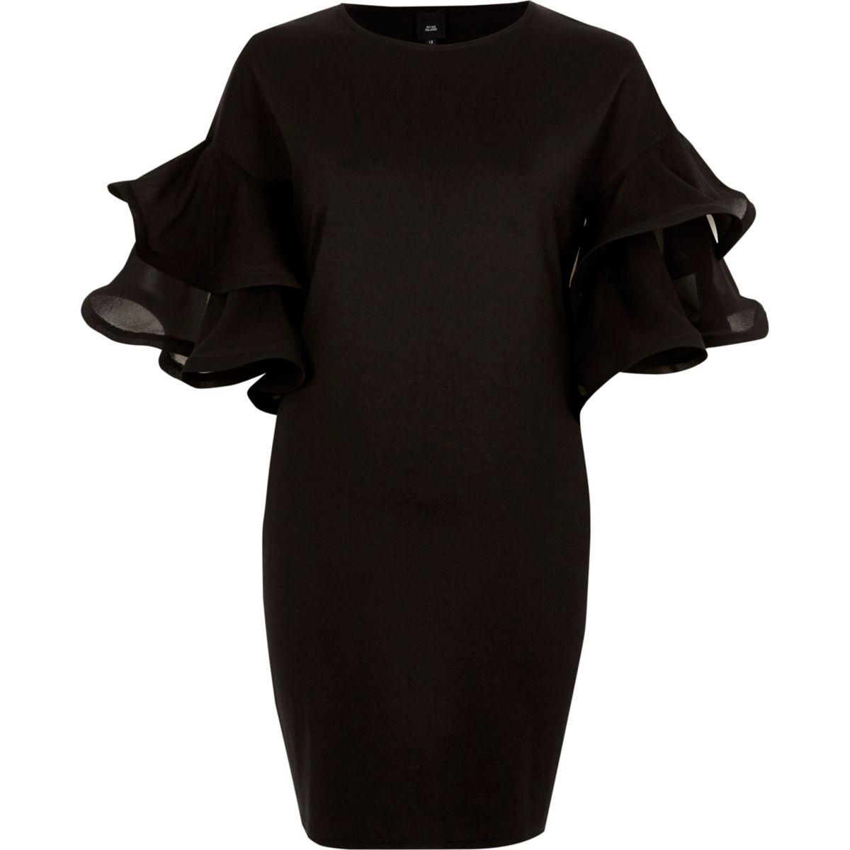 Schwarzes Bodycon-Minikleid mit Rüschen