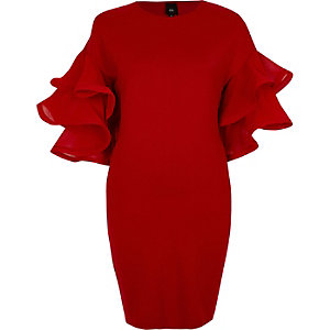 Red frill layered sleeve bodycon mini dress