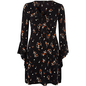 Black floral knot panel front jersey dress