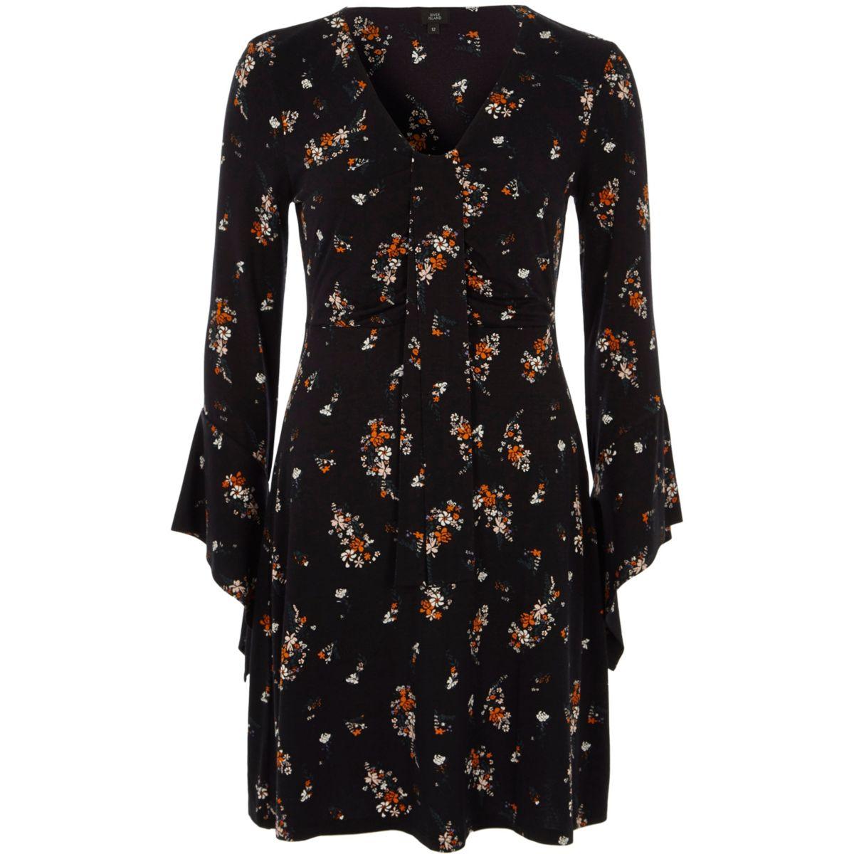 Zwarte gebloemde tricot jurk met knoopdetail voor