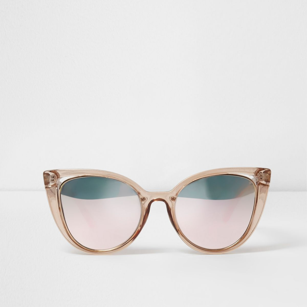 Beige plastic mirror lens cut out sunglasses