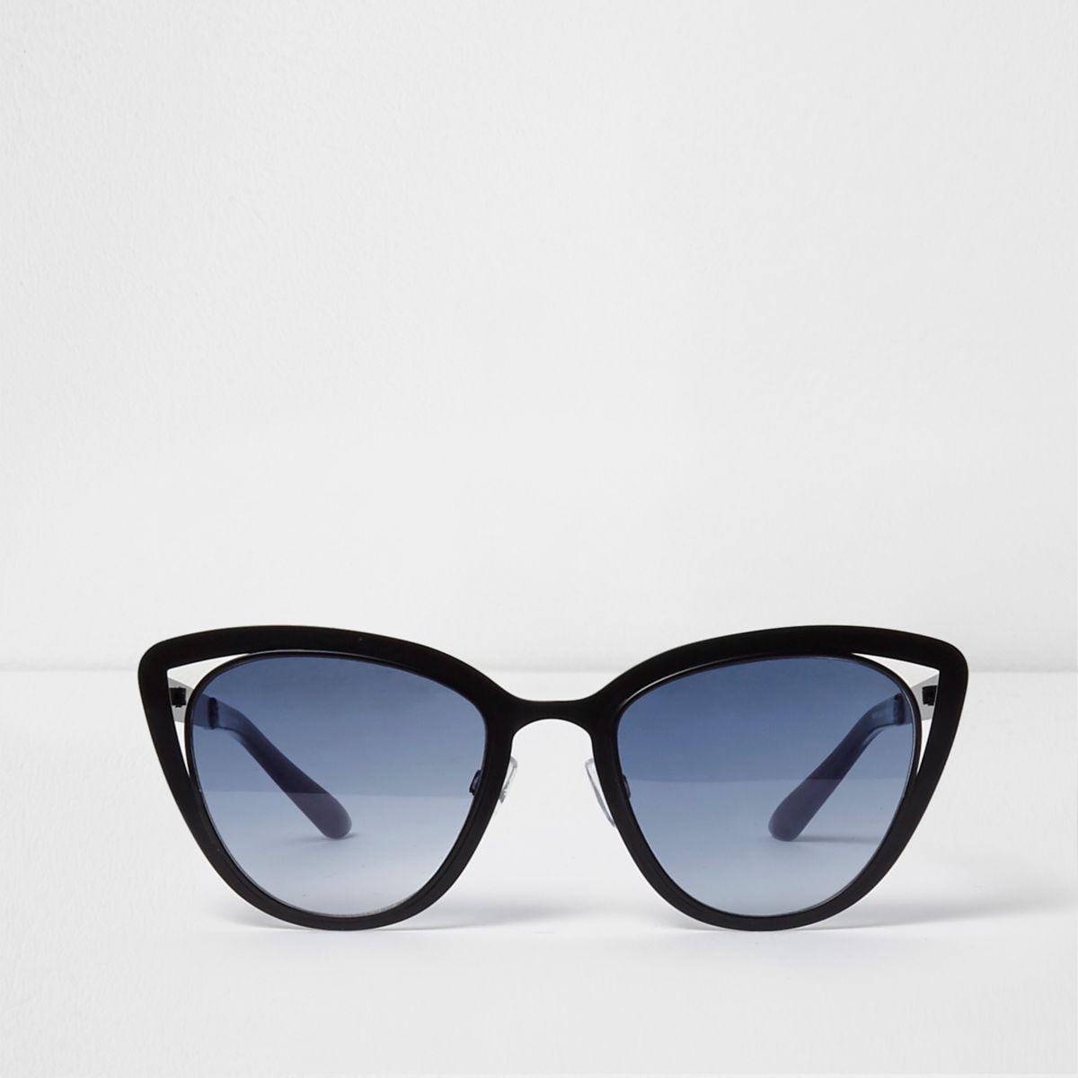 Zwarte cat-eye-zonnebril met uitsneden