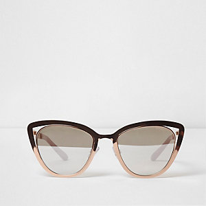 Rose gold tone cat eye cut out sunglasses