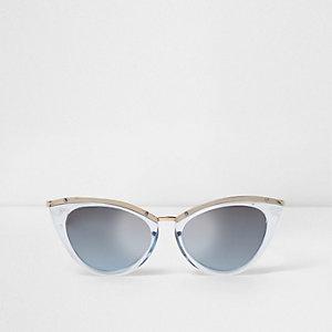 Blaue Cateye-Sonnenbrille mit Kunststoffgestellt
