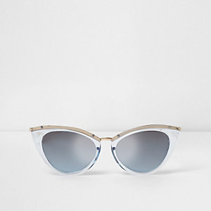 Blue tinted plastic frames cat eye sunglasses