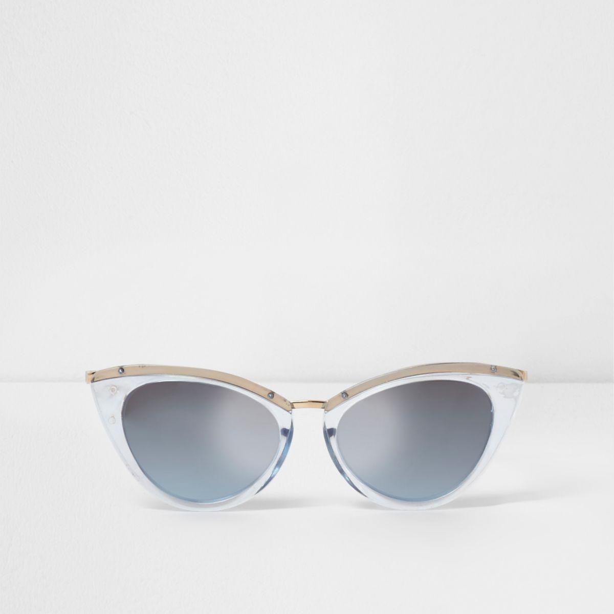 Blue tinted plastic frames cat eye sunglasses