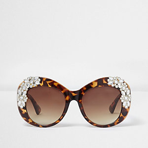Brown tortoiseshell embellished sunglasses