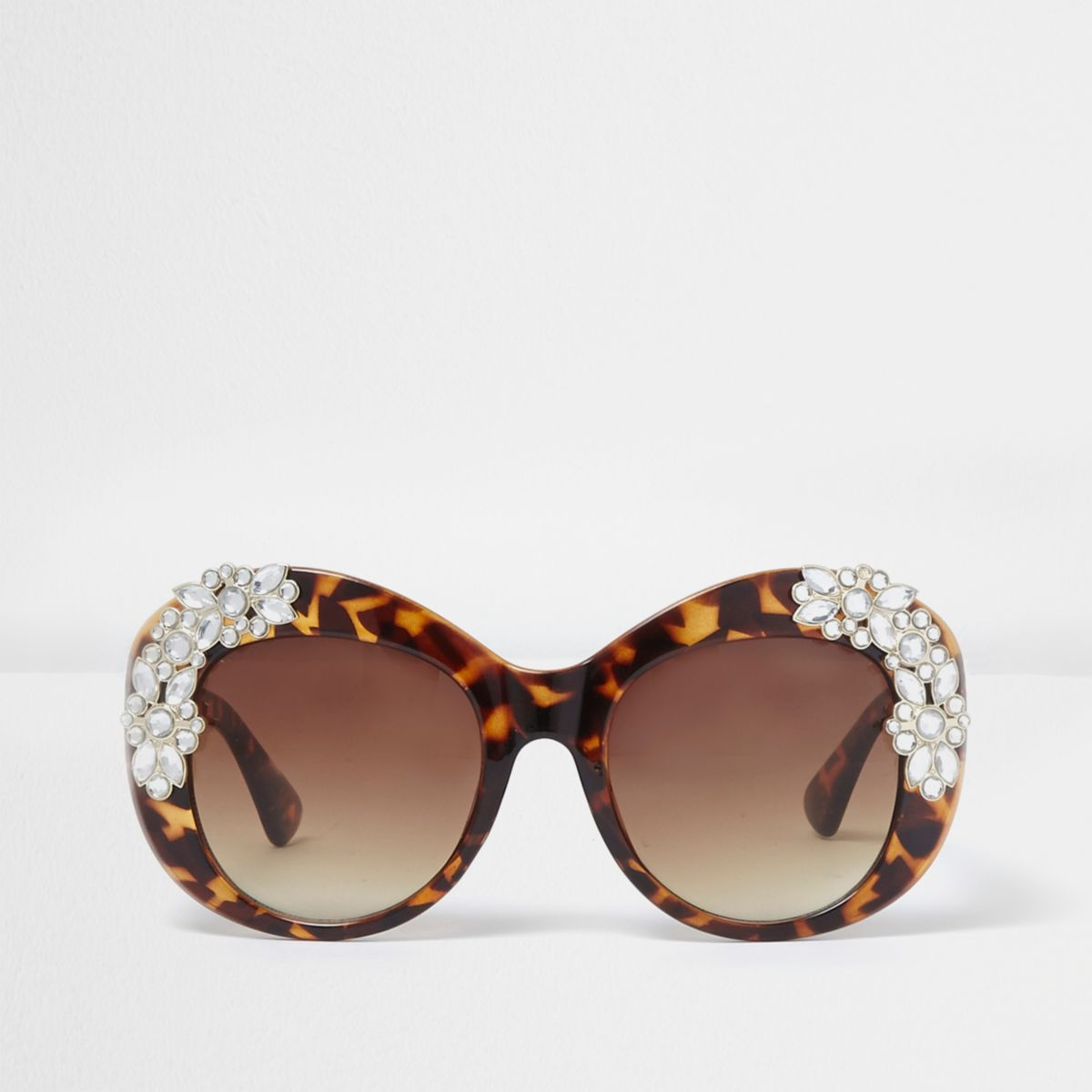 Brown tortoiseshell embellished sunglasses