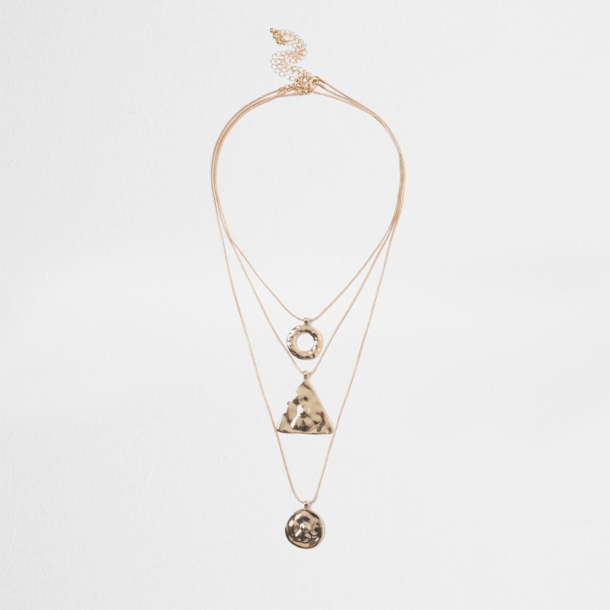 Gold tone multi row shape pendant necklace