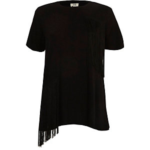 Black short sleeve fringed T-shirt