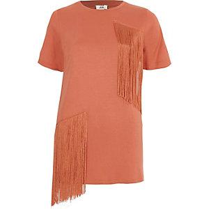 T-shirt long corail à manches courtes et franges