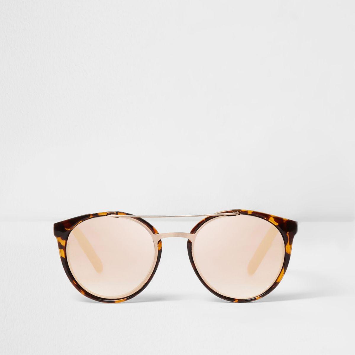 Bruine ronde tortoise zonnebril