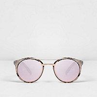Brown tortoiseshell mirror lenses sunglasses