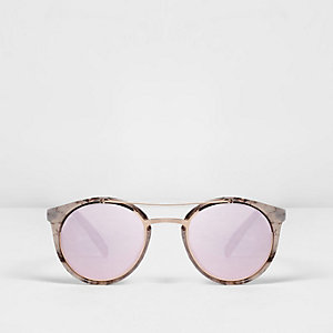 Brown tortoiseshell mirror lenses sunglasses