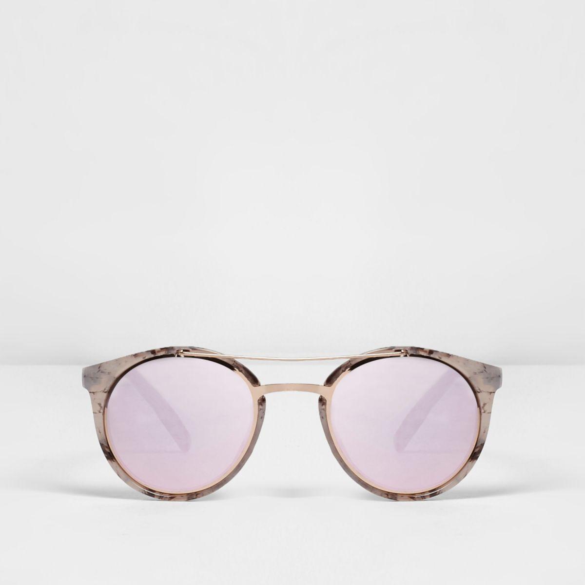 White marble mirror lenses sunglasses