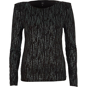 Black glitter long sleeve shoulder pad top
