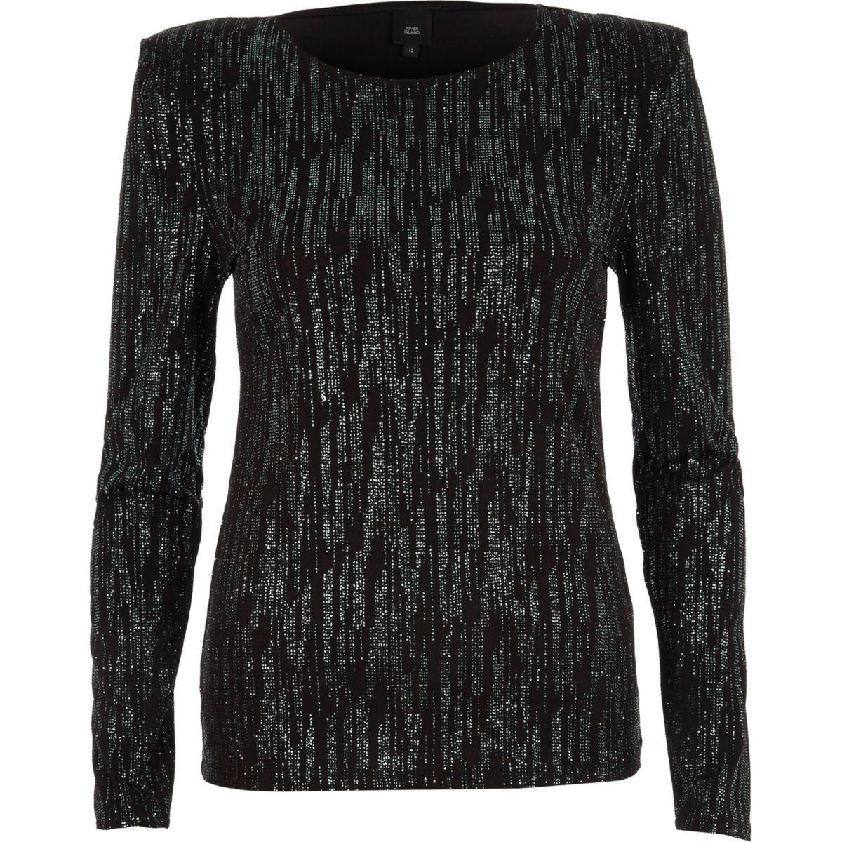 Zwarte glittertop met lange mouwen en schoudervulling