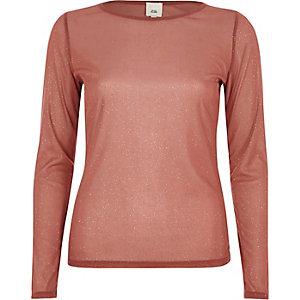 Dark pink sheer glitter mesh top