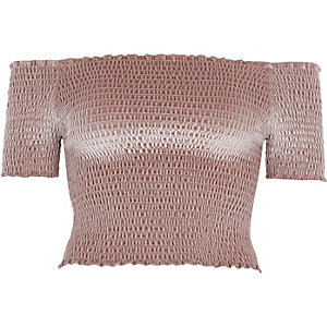 Light pink shirred velvet bardot crop top