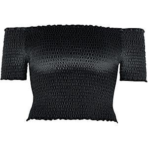 Crop top Bardot en velours froncé noir