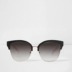 Black oversized half frame retro sunglasses
