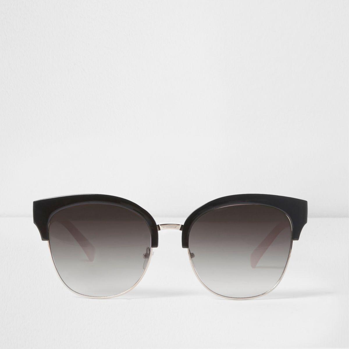 Black oversized half frame retro sunglasses