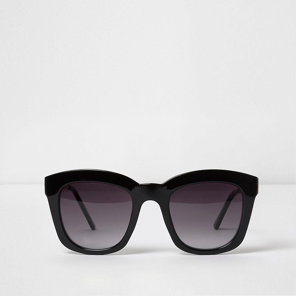 Zwarte oversized glam zonnebril met getinte glazen
