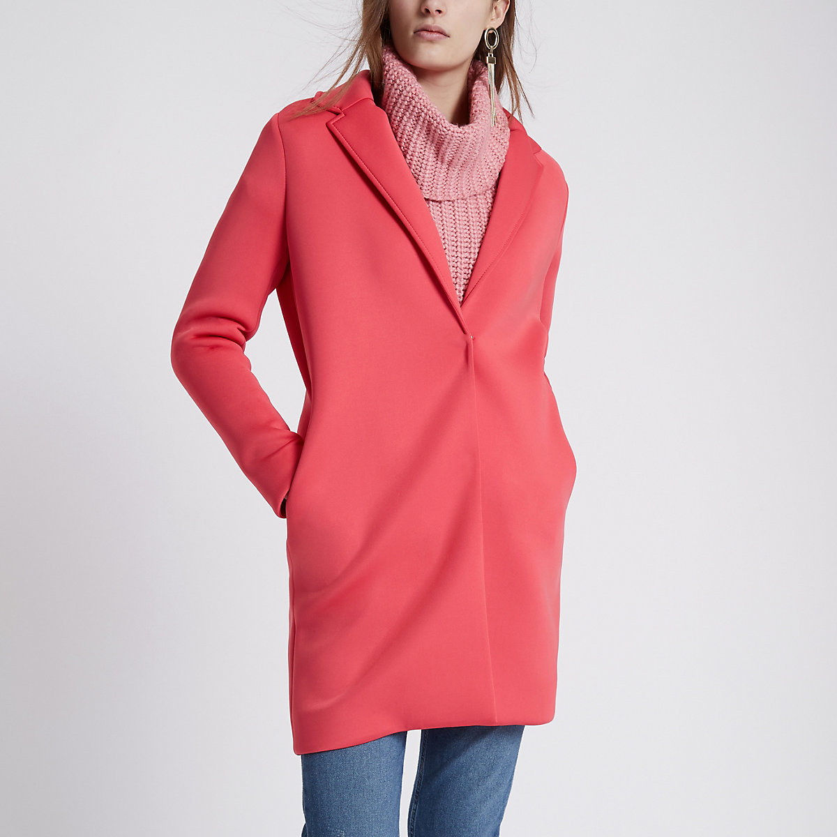 Pink scuba tailored coat
