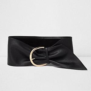 Black wide leather waist buckle belt
