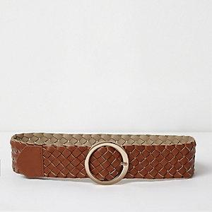 Tan brown braided mid waist ring belt