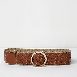 Tan brown braided mid waist ring belt