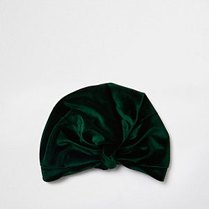 Green velvet knot front turban hat