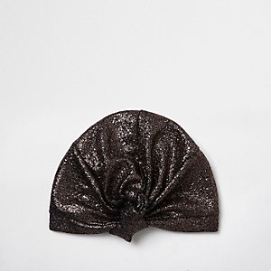Gold textured knot front turban hat