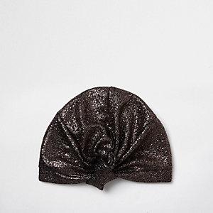Turban texturé doré noué sur le devant