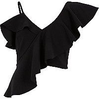 Black asymmetric frill crop top