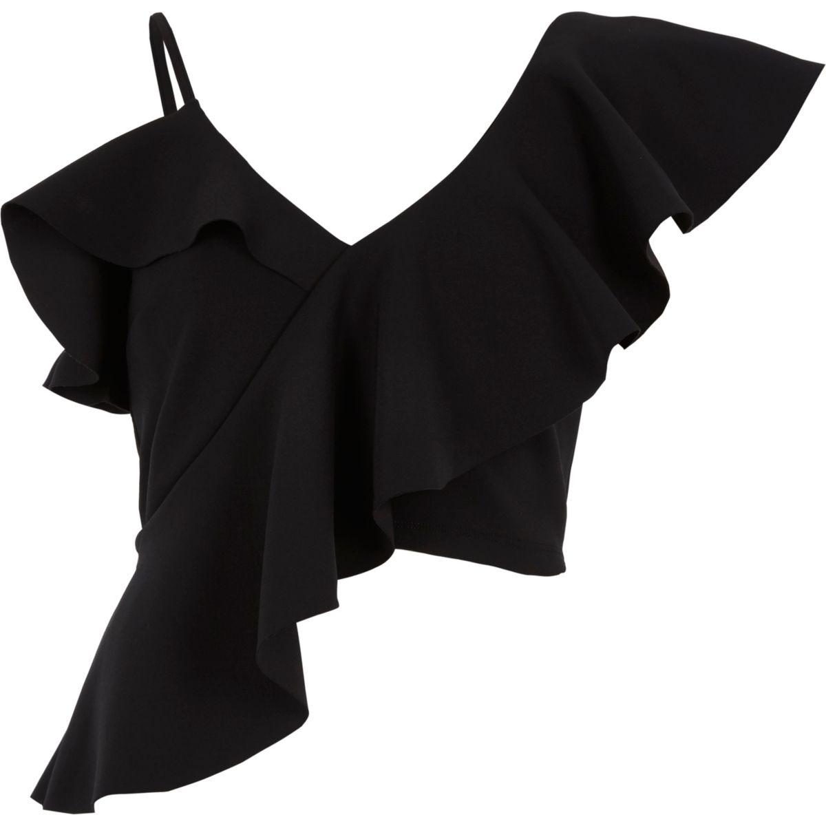 Black asymmetric frill crop top