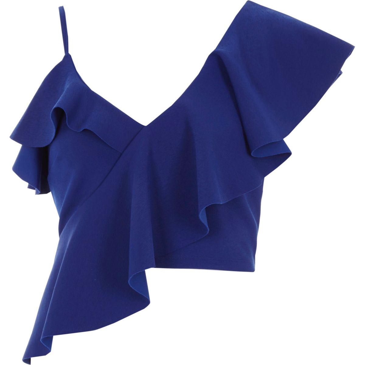 Blue asymmetric frill crop top