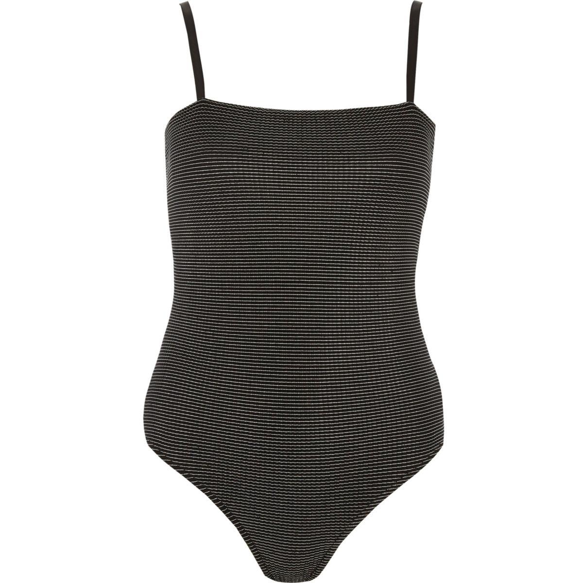Black metallic square neck cami bodysuit
