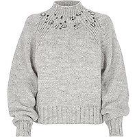 Grey chunky knit jewel trim high neck jumper