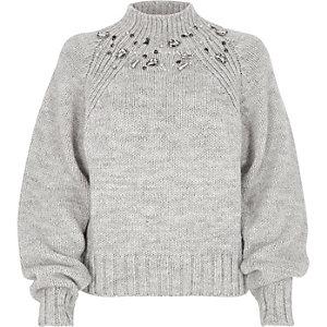 Grey chunky knit jewel trim high neck sweater