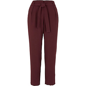 Burgundy tie waist tapered pants