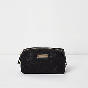Black glitter make-up bag