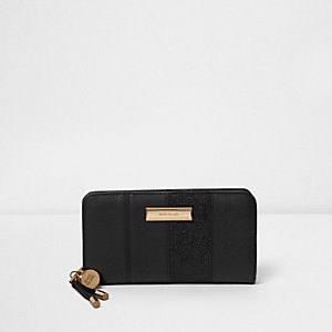 Black glitter panel zip around purse